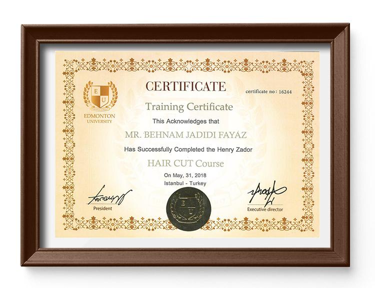 گواهینامه اصلاح موی کودک از دانشگاه ادمونشن یونیورسیتی 2018